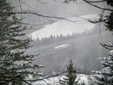 Uno sguardo all'A23 dalla pista forestale che sale a Sella Bieliga.