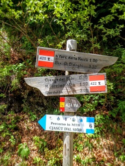 Bivio sentiero CAI 422 e 425