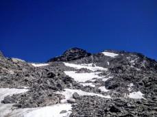 La via normale, tra i nevai, per l'Ankogel.