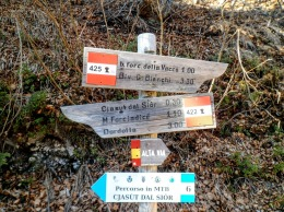 Cartelli al bivio fra i sentieri Cai 422 e 425.