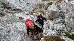 Passaggio non banale lungo il sentiero alpinistico.