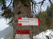 Indicazioni per casera Cordin al bivio per casera Valbertat alta