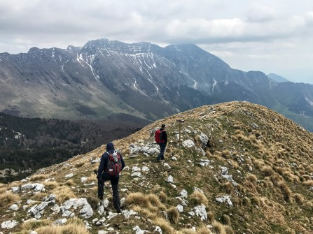 Si scende in cresta; dietro monte Krn