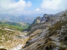 Panorama dalla forcella della Capra verso il lago di Selva