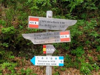 Bivio con il sentiero CAU 422