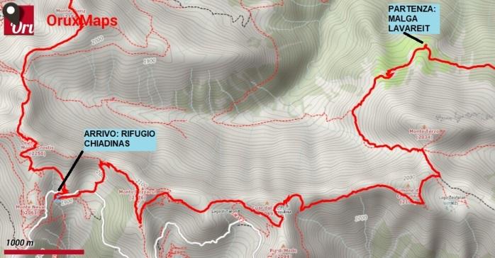 mappa trekking crostis coglians 2