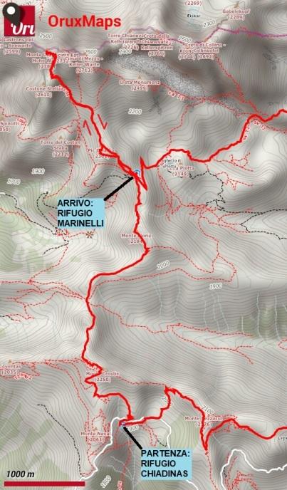 mappa trekking crostis coglians 3