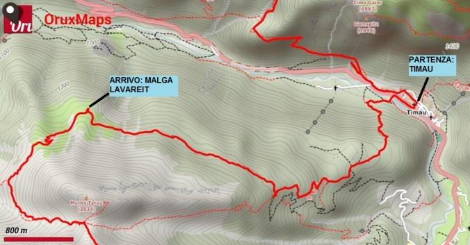 mappa trekking crostis coglians g1