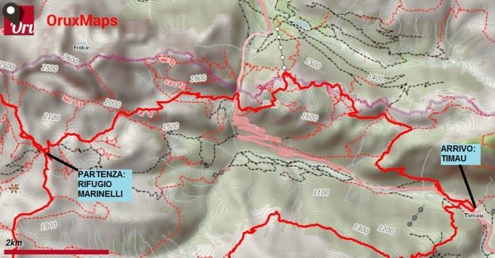 mappa trekking crostis coglians g4