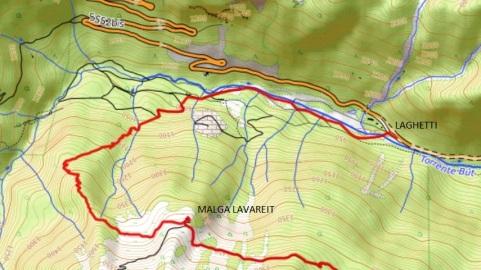 Mappa trekking crostis coglians Laghetti_Lavareit
