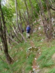 Un tratto di sentiero dove la mulattiera è rovinata