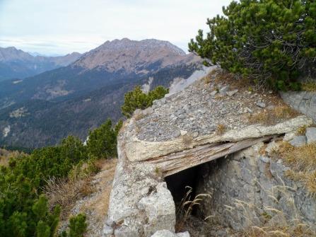 Postazioni della Grande Guerra sul versante ovest del monte Cullar
