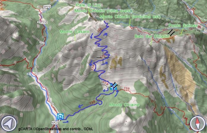 mappa CHIADIN OVEST